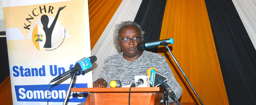 KNCHR Chairperson Kagwiria Mbogoria officially launching the North Rift Inquiry Report on insecurtiy and its effects on enjoyment of human right