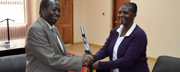 KNCHR Commisioner Ms. Suzzane Chivusia during a courtesy call to Baringo Governor Benjamin Cheboi at his Kabarnet offices. The visit is part of ongoing talks with His county over insecurity in the area