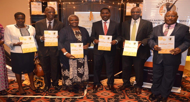 From Right, NCIC Chair Mr Kaparo, Hon. Waiganjo, Meru Governor Peter Munya, KNCHR Chair Ms. Mbogori, Hon. Neto and Hon Lekorere during the launch of 2015/18 KNCHR Strategic plan.