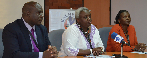KNCHR Chairperson Ms. Kagwiria Mbogori and Commissioners George Morara and Suzanne Chivusia address a press conference at our offices to condemn the extrajudicial killings that took place in Changamwe, Mombasa County on 30th July 2014