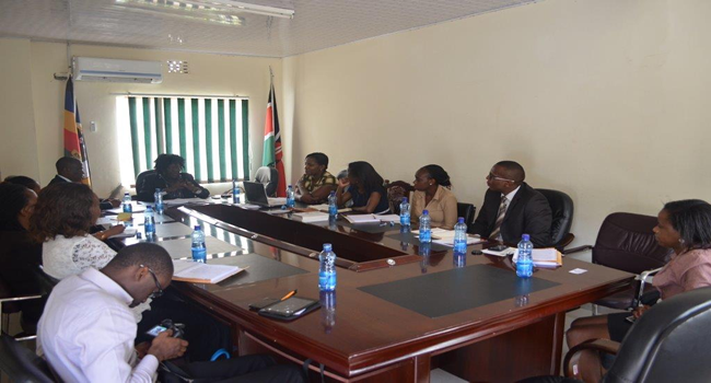 The IPCRM (Sema Piga Ripoti) secretariat pays a courtesy call to Machakos County Executive for decentralised Units Mrs Helena Kiilu ahead of activation in Machakos from September 11-14th 2014