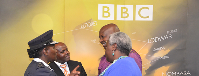 KNCHR Chair Ms Kagwiria Mbogori (In blue sweater) engages Deputy Inspector General Ms Grace Kaindi and Internal Ministry Spokesperson Mwenda Njoka during a BBC Sema Kenya show on Insecurity in Kenya